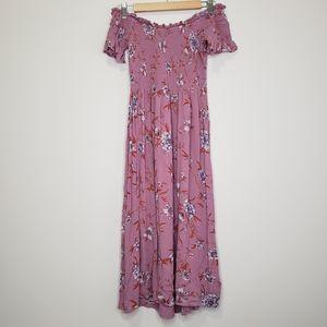 Anthro Kimchi Blue Picnic Floral midi dress S